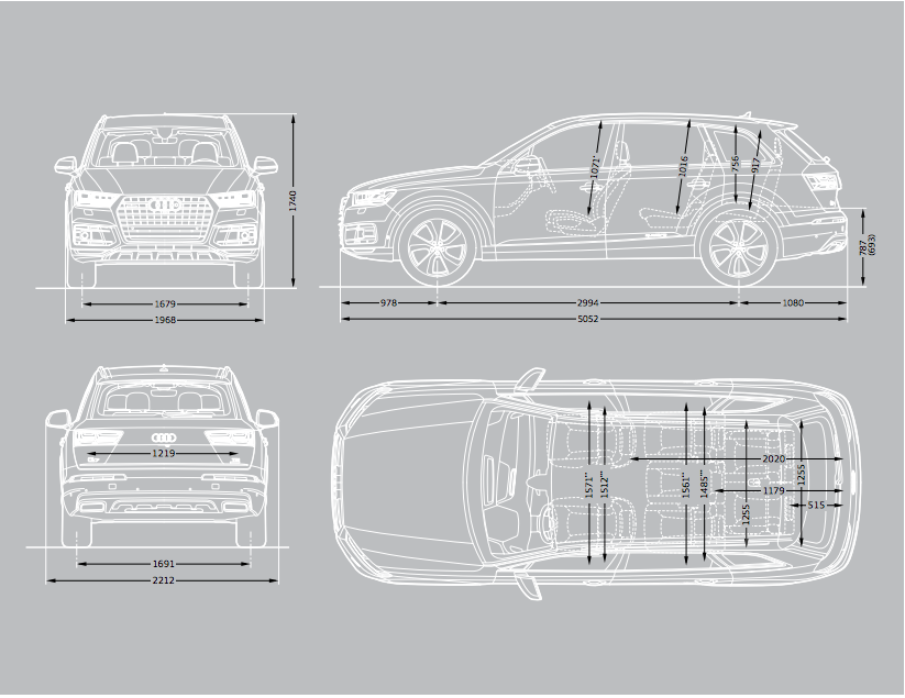 Image gallery 2007 q7 dimensions