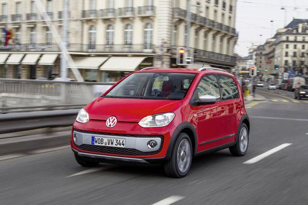 vw up red driving