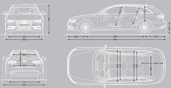 audi a4 dimensions 2015  u2013 uk exterior and interior sizes
