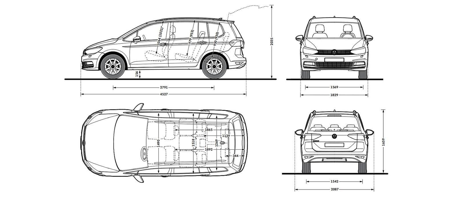 vw touran sizes and dimensions guide